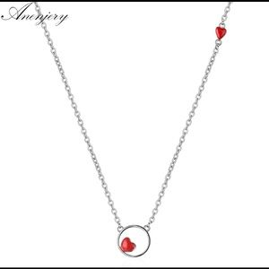 NWOT 925 Sterling Silver Red Love Heart Necklace